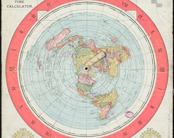 Flat Earth Map - Gleason's New Standard Map of the World 1892 - A0, A1, A2, or A3 on 200gsm Silk Poster Paper