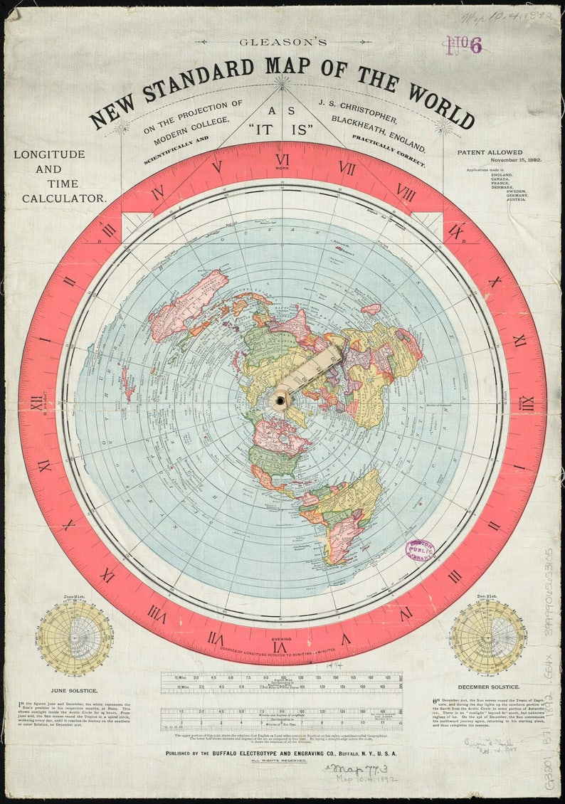 Flat Earth Map  Gleason's New Standard Map of the World image 0