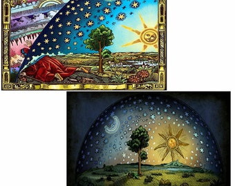 Flat Earth Flammarion and Under The Dome Prints, Home Decor
