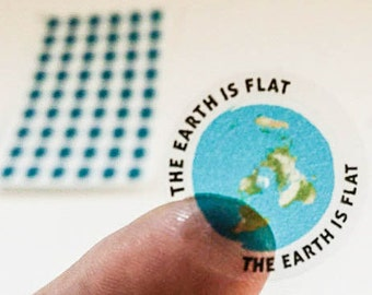 """Mini Flat Earth Stickers - azimuthel equidistant with """"Earth is Flat"""""""
