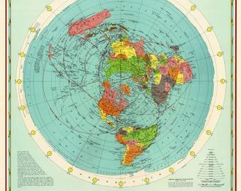 Flat Earth Map - Cbs American School Of The Air Hammond Map Print