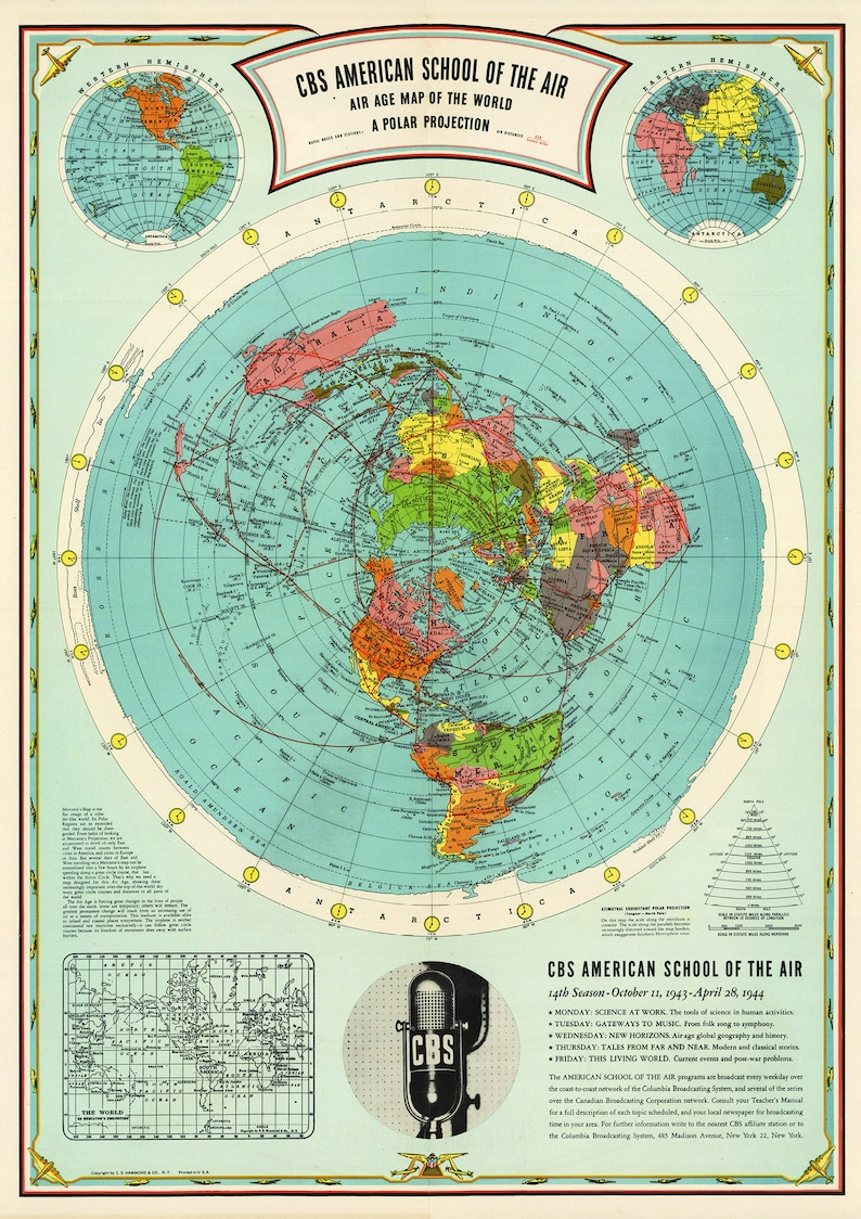 Flat Earth Map Cbs American School Of The Air Hammond Map | Etsy