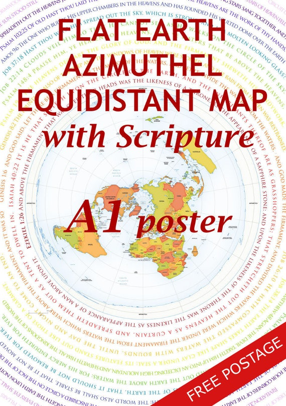 Flat earth map with biblical scripture a1 posterazimuthel publicscrutiny Image collections