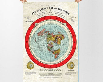 "HUGE Flat Earth Gleason Map 46.8 x 33.1"" (A0) Quality 200gsm Silk Paper"