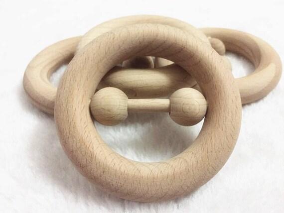 05/01/10 PCS hêtre naturel bois 8 cm bébé hochet de dentition en bois anneau de dentition bague Landau jouet sensoriel hêtre non traité hochet bois jouets de bébé