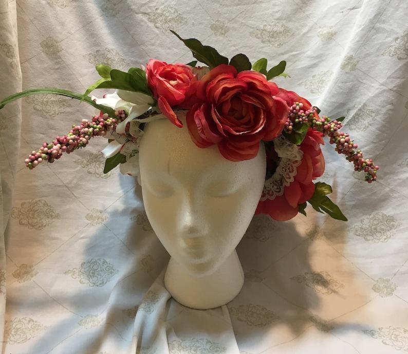 Elegant Dark Pink Flower Crown for Weddings or Faerie Cosplay