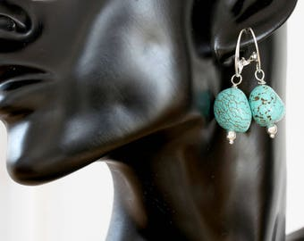 Large Natural Blue Turquoise  Nugget Earrings, Turquoise Nugget Earrings, Large Natural Turquoise Earrings