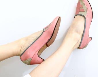 Sweet Pink Pumps / vintage high heels / vintage pumps / leather high heels