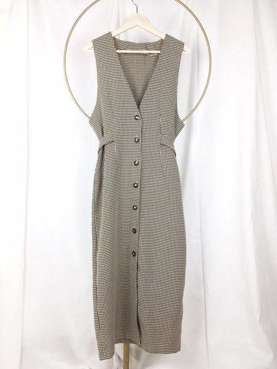 HOUNDSTOOTH midi MED / Midi dress / sleeveless dre