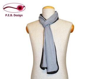 Silk scarf Icemint-Anthracite or Icemint-blue, men's scarf, unisex scarf, nuno scarf, felt scarf, silk, bourette, wool