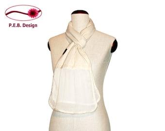 Silk scarf volant Natural white, Nuno scarf, felt scarf, silk, bourette, wool