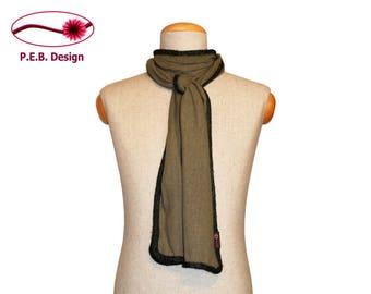 Silk scarf olive oil-dark green or olive green-petrol, men's scarf, unisex scarf, nuno scarf, felt scarf, silk, bourette, wool