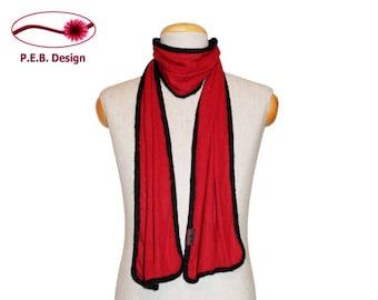 Silk scarf red-black, men's scarf, unisex scarf, nuno scarf, felt scarf, silk, bourette, wool