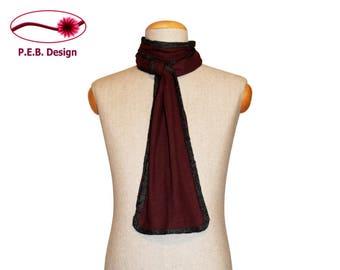 Silk scarf, burgundy-anthracite, red-grey, men's scarf, unisex scarf, nuno scarf, felt scarf, silk, bourette, wool