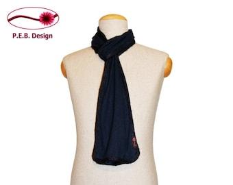Silk Scarf navy blue-Uni or navy blue-dark green, men's scarf, unisex scarf, nuno scarf, felt scarf, silk, bourette, wool