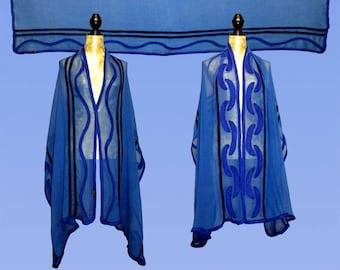 Silk stole Maritim, Nuno scarf, felt scarf, silk, wool