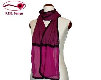 Silk scarf volant BlackBerry plum, nuno scarf, felt scarf, silk, bourette, wool