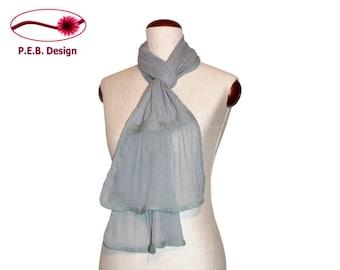 Silk scarf volant Icemint, nuno scarf, felt scarf, volant scarf, silk, bourette, wool