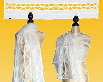 Silk stole pierced natural white, nuno scarf, felt scarf, silk, wool
