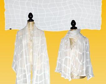 Silk stole wave lattice natural white, wedding stole, Nuno scarf, felt scarf, silk, wool