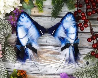 Blue Blood Fox Ears, Faux Fur Handmade Cosplay Kitsune Ears Headband, Original Catzo Design, Textile Sculpture Wearable Art