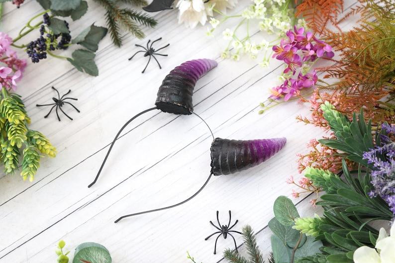Black and Purple Demon Horns Headband