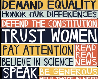 Anti-Trump Protest Postcard: Science, Feminism, Blacklivesmatter, Media, Democracy, Resistance