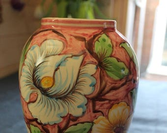 CABBAGE ROSES Style Hand Painted and Signed Large Vase 10""
