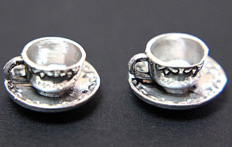 A Vintage Four-Piece 925 Sterling Silver Dollhouse Miniature Tea Set for Two