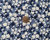 100 Cotton Rose Hubble Poplin Fabric - Denim Blue Floral print - Dressmaking , Quilting, Craft Material