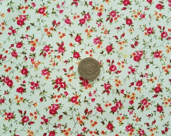 Rose   Hubble 100% Cotton Poplin Fabric - Ivory with small Pink Floral  design - Dressmaking  0373a11ca