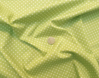 Rose & Hubble 100% Cotton Poplin Fabric - 3mm Polkadot Spot - Lime Green - Dressmaking , Quilting, Craft Material