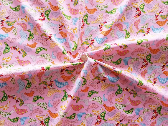 ROSE /& HUBBLE CERISE FLAMINGO PRINT FABRIC 100/% COTTON 112cm WIDE PER METRE