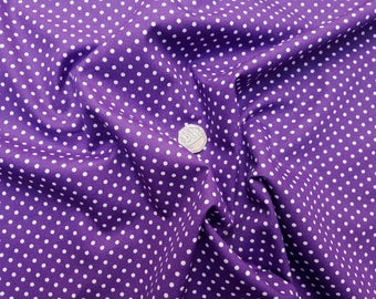 Rose & Hubble 100% Cotton Poplin Fabric - 3mm Polkadot Spot - Purple - Dressmaking , Quilting, Craft Material
