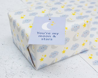 Moon & Stars Wrapping Paper - A2 Sheets, Eco Gift Wrap
