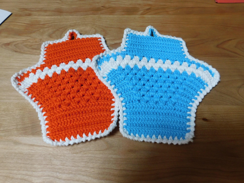 Hand Crocheted Double Sided Basket Shape Cotton Potholder Hot   Etsy