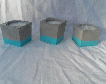 Bougeoir beton cube bleu