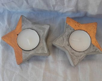 Candlestick star concrete color gold