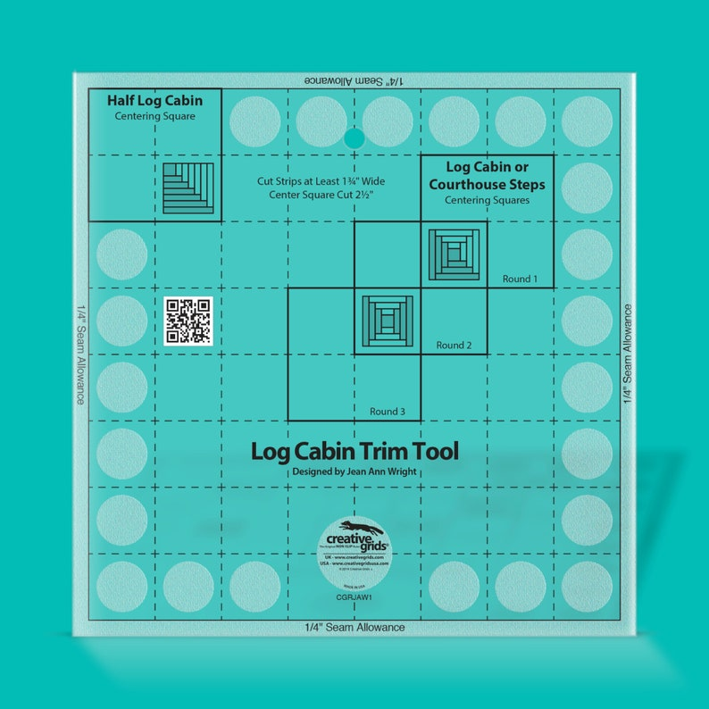 FREE SHIPPING Creative Grids Log Cabin Trim Tool for 8in Finished Blocks Quilt Ruler CGRJAW1