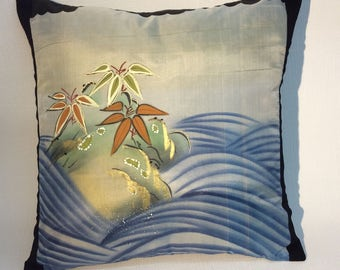 Decorative Japanese Silk Cushion Cover or/and pillow . hand-painted