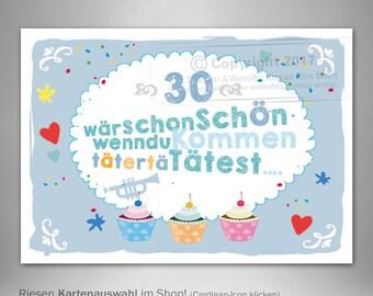 Einladungen 30. Geburtstag, Dreißigster Geburtstag Lustige Einladung,  Witzige Einladungskarte 30, Dreißigster Kreative Einladung Postkarte