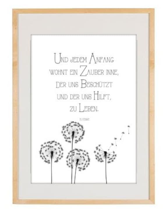 Poster Gedicht Stufen Herrmann Hesse Illustration Grafik Typografie Bild Kunst Text Plakat Wanddeko Küchenbild Geschenk