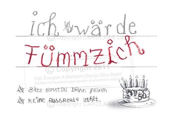 Einladung 50 Geburtstag Fummzich Etsy
