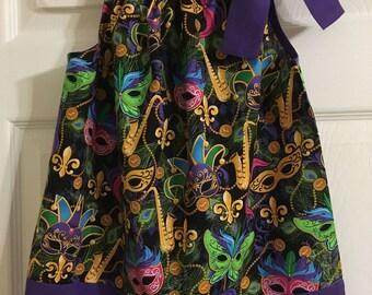 Girls Mardi Gras Pillowcase Dress