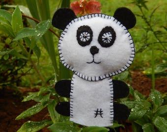 Panda felt finger puppet