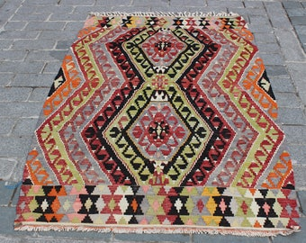 "Boho Vintage Kilim Rug-6.9""x4.3""Feet-Decorative Kilim Rug-Turkish Kilim Rug-Rugs"