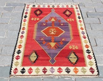 "Red Kilim Rug-4.9""x3""Feet-150x90 cm-Kilim Rug-Turkish Kilim Rug-Rugs-Floor Rug-Home Decor Vintage"