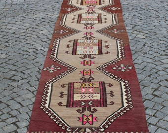 """Turkish Kilim Runner, 3""""x15""""Feet,91x460 cm,Kilim Runner,Rug Runner,Home Decor Anatolian Area Rug Runner,Bohemian Rug,Home Decor"""