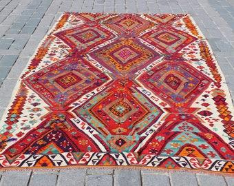 "Vintage Kilim Rug,11""x6.1""Feet,336x186 cm,Decorative Anatolian Kilim Rug,Handmade Kilim Rug,Colorful Turkish Rug"