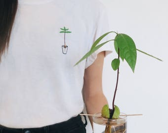 Avocado Plant T-shirt | Hand Embroidered